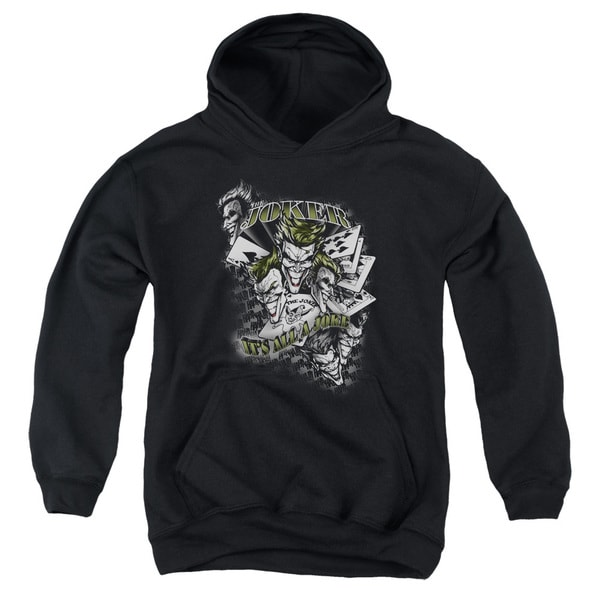 Batman/Its All A Joke Youth Pull-Over Hoodie in Black
