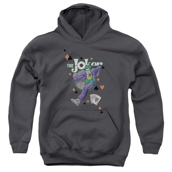 Batman/Always A Joker Youth Pull-Over Hoodie in Charcoal