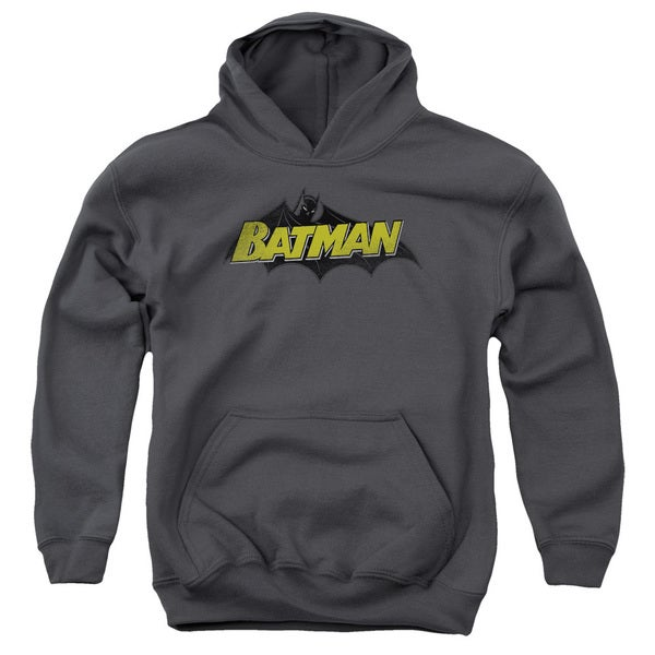 Batman/Classic Comic Logo Youth Pull-Over Hoodie in Charcoal