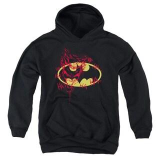 Batman/Joker Graffiti Youth Pull-Over Hoodie in Black