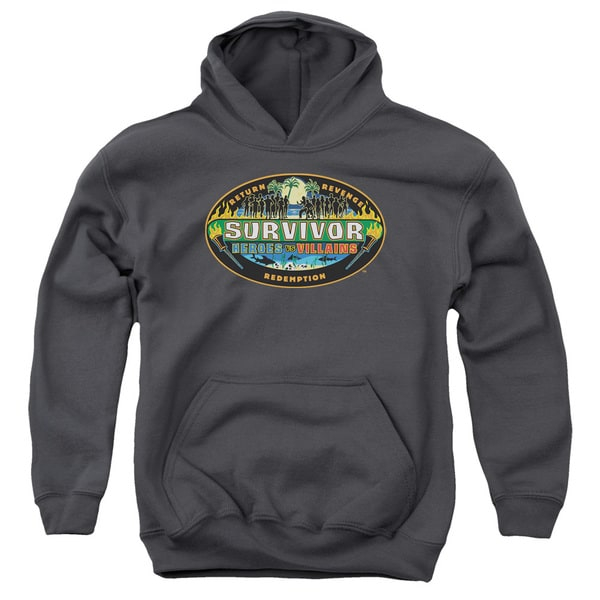 Survivor/Heroes Vs Villains Youth Pull-Over Hoodie in Charcoal