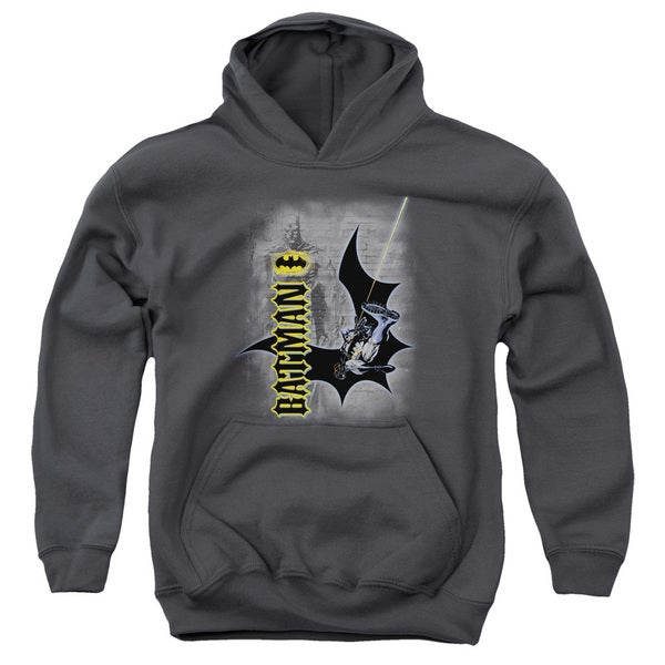 Batman/Swing Into Action Youth Pull-Over Hoodie in Charcoal