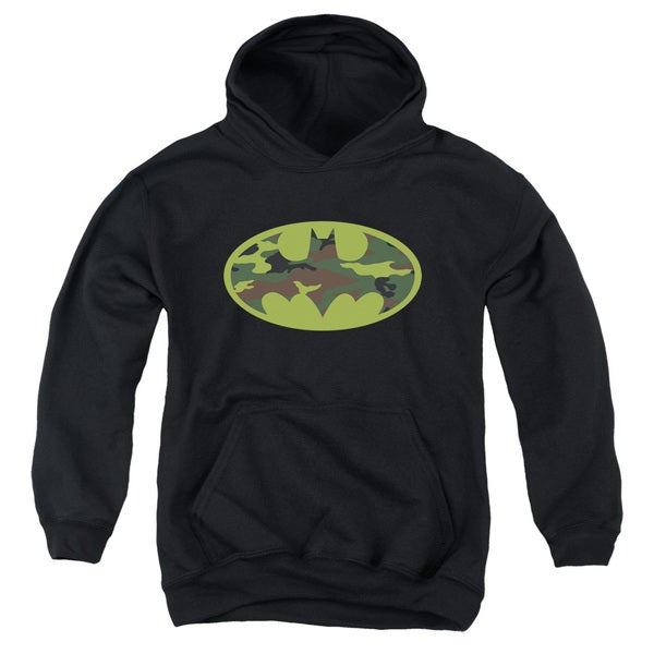 Batman/Camo Logo Youth Pull-Over Hoodie in Black