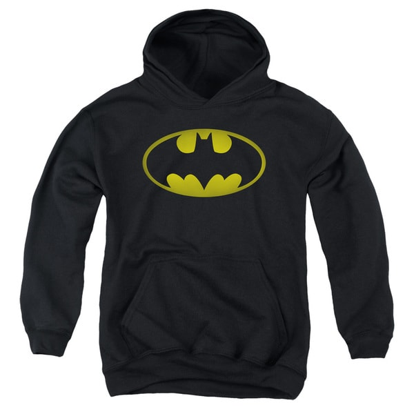 Batman/Washed Bat Logo Youth Pull-Over Hoodie in Black