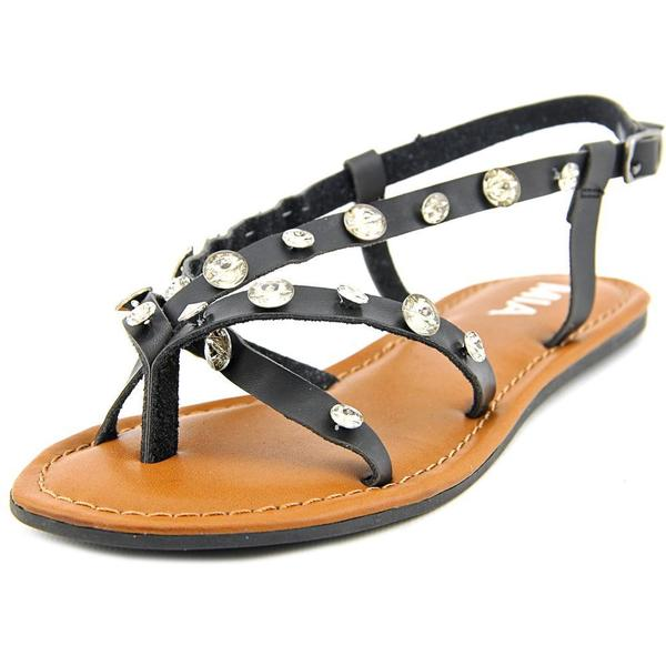 Mia Women's Peace Black and Silver Synthetic Open-toe Sandals