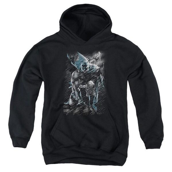 Batman/In The Rain Youth Pull-Over Hoodie in Black