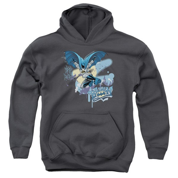 Batman/Into The Night Youth Pull-Over Hoodie in Charcoal