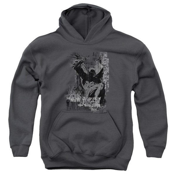 Batman/The Knight Life Youth Pull-Over Hoodie in Charcoal
