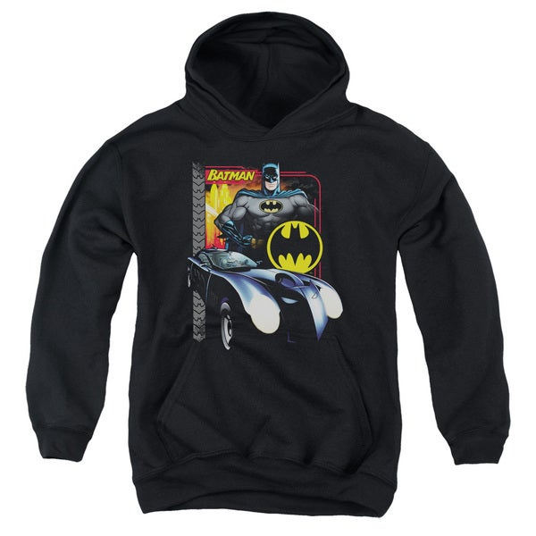 Batman/Bat Racing Youth Pull-Over Hoodie in Black