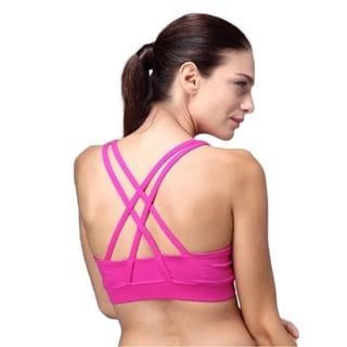 Women's Energy Crop Black/Green/Pink/Purple Cotton/Spandex Padded Sports Bra