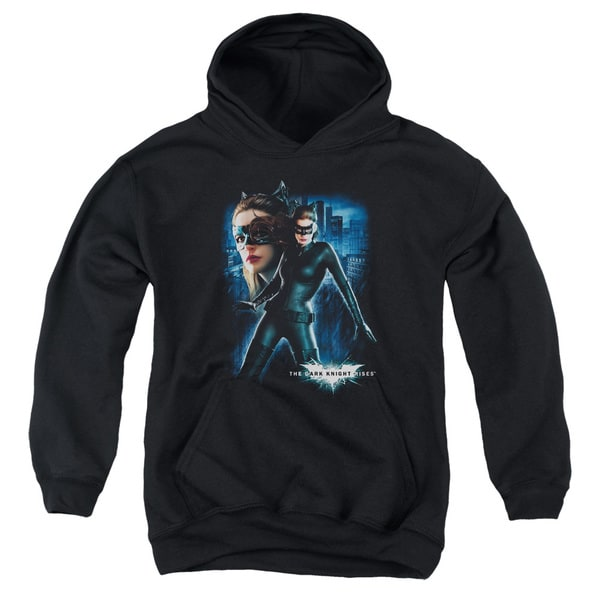 Dark Knight Rises/Catwoman Youth Pull-Over Hoodie in Black
