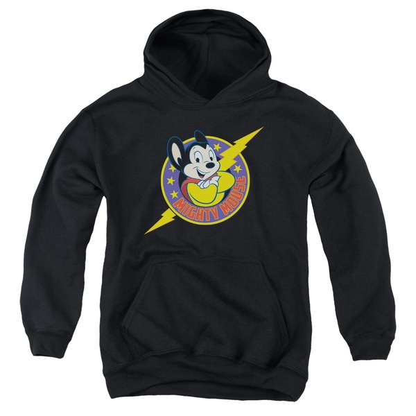 Mighty Mouse/Mighty Hero Youth Pull-Over Hoodie in Black