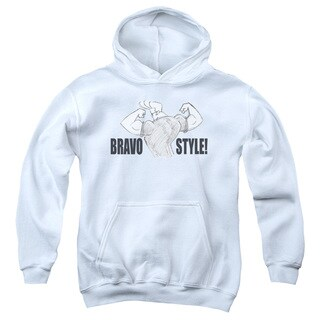 Johnny Bravo/Bravo Style Youth Pull-Over Hoodie in White