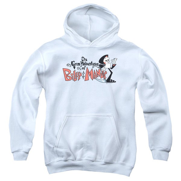 Billy & Mandy/Logo Youth Pull-Over Hoodie in White