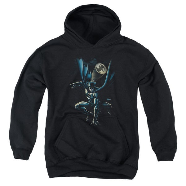Batman/Calling All Bats Youth Pull-Over Hoodie in Black