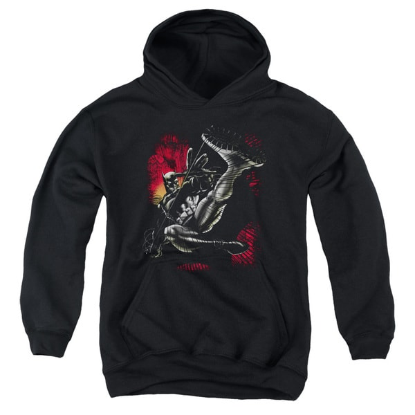 Batman/Kick Swing Youth Pull-Over Hoodie in Black