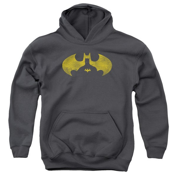 Batman/Bat Symbol Knockout Youth Pull-Over Hoodie in Charcoal
