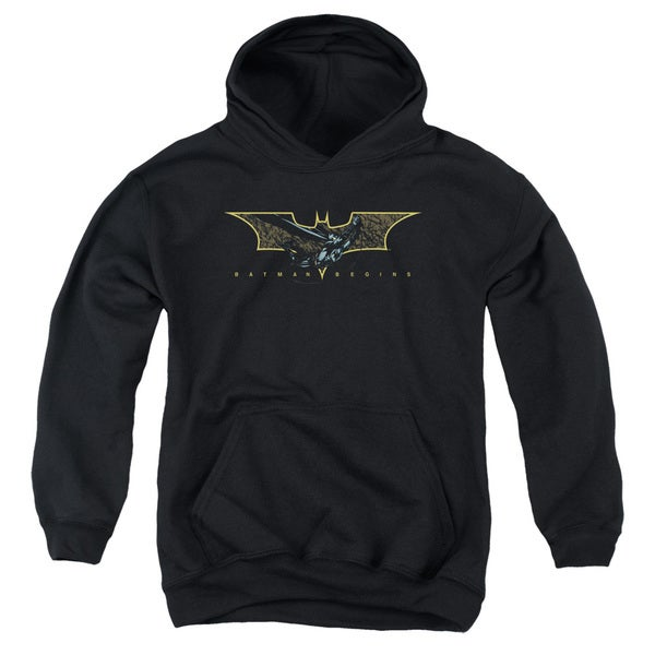 Batman Begins/Coming Through Youth Pull-Over Hoodie in Black