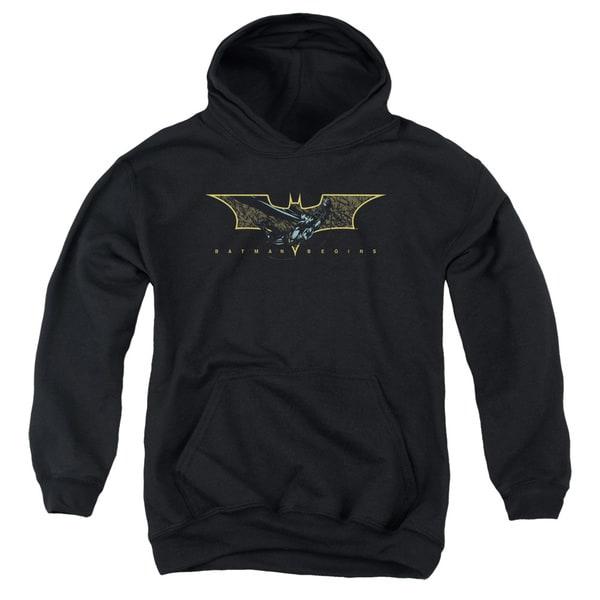 Batman Begins/Coming Through Youth Pull-Over Hoodie in Black