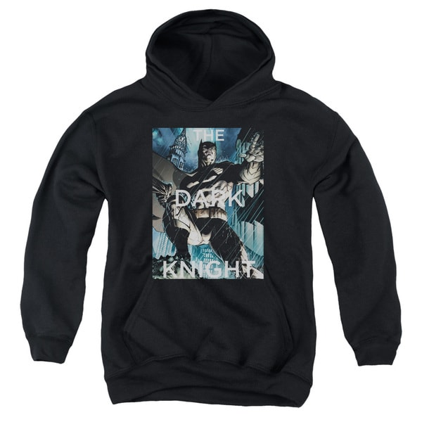 Batman/Fighting The Storm Youth Pull-Over Hoodie in Black