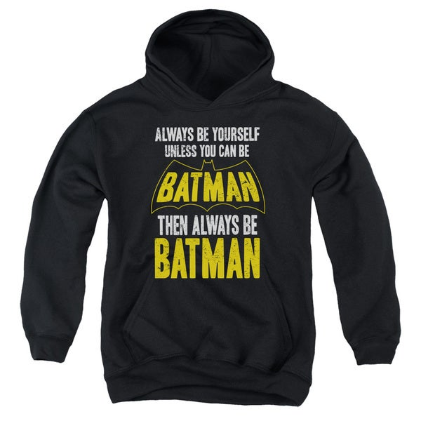 Batman/Be Batman Youth Pull-Over Hoodie in Black