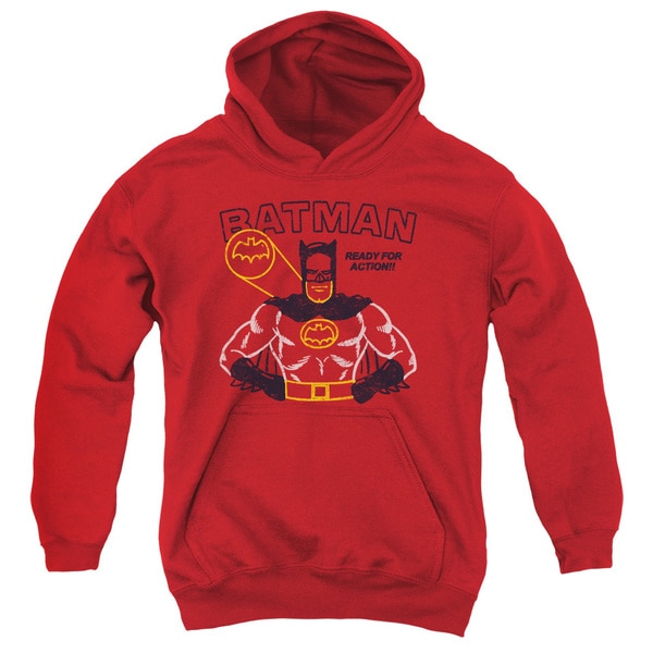 Batman/Ready For Action Youth Pull-Over Hoodie in Red