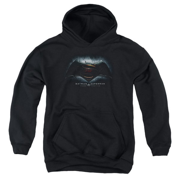 Batman Vs Superman/Logo Youth Pull-Over Hoodie in Black