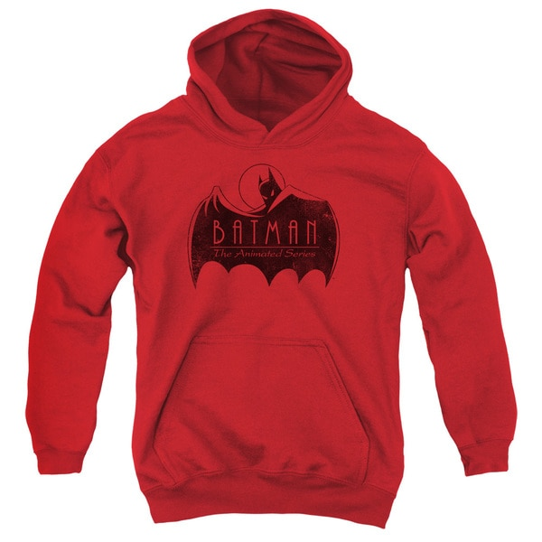 Batman The Animated Series/One Color Logo Youth Pull-Over Hoodie in Red