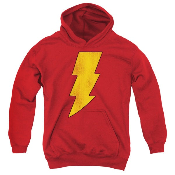 DC/Shazam Logo Distressed Youth Pull-Over Hoodie in Red