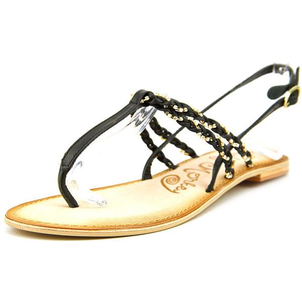 Naughty Monkey Women's Fresh Fry Black and Gold Leather Open-toe Sandals