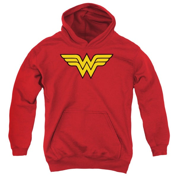 DC/Wonder Woman Logo Youth Pull-Over Hoodie in Red