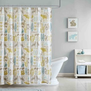 NK+IVY Kids Woodland Aqua Cotton Printed Shower Curtain