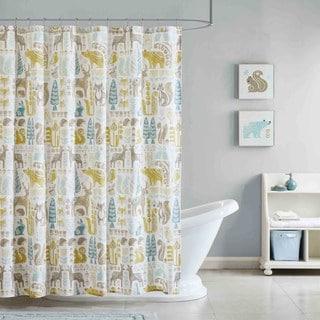 INK+IVY Kids Woodland Aqua Cotton Printed Shower Curtain