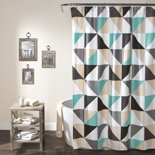 Lush Decor Abner Polyester Geo Shower Curtain