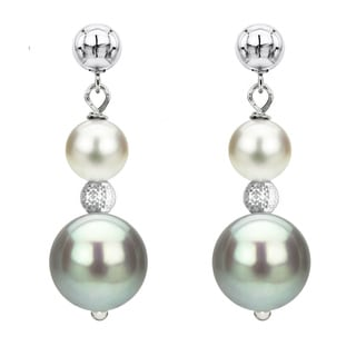 DaVonna Sterling Silver 6-6.5mm and 9-10mm White & Grey Multi Color Freshwater High Luster Pearl Dangle Stud Earring