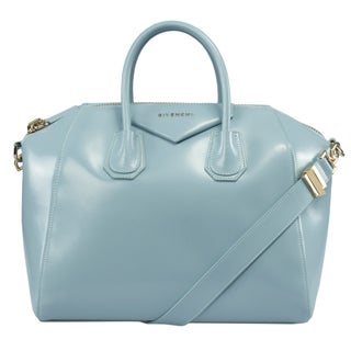 Givenchy Antigona Sky Blue Calfskin Leather Medium Satchel Bag Gold Hardware with Shoulder Strap