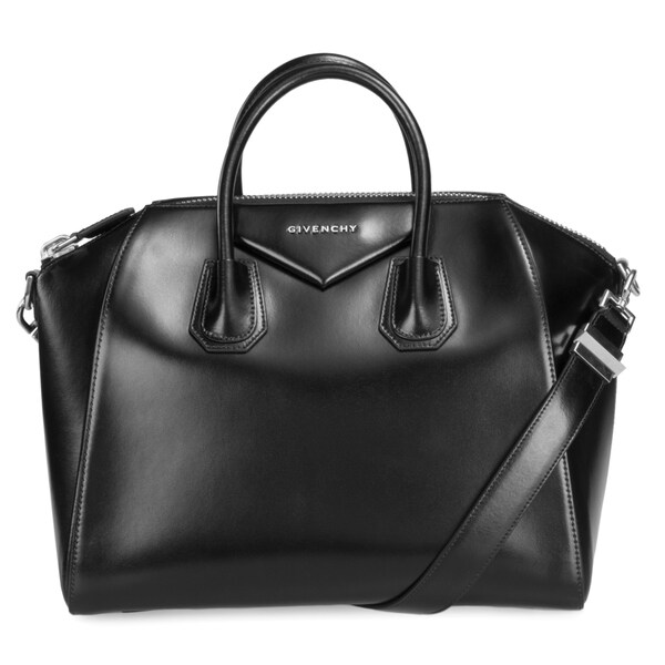 Givenchy Antigona Black Calfskin Leather Medium Bag Silver Hardware with Shoulder Strap