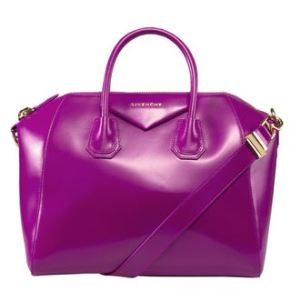 Givenchy Antigona Fuchsia Calfskin Leather Medium Satchel Bag Gold Hardware with Shoulder Strap