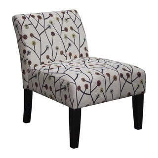 Slipper Printed Polyester Upholstered Espresso-finish Wood Armless Accent Chair