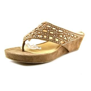 CL By Laundry Women's Norah Brown Faux Suede Sandals