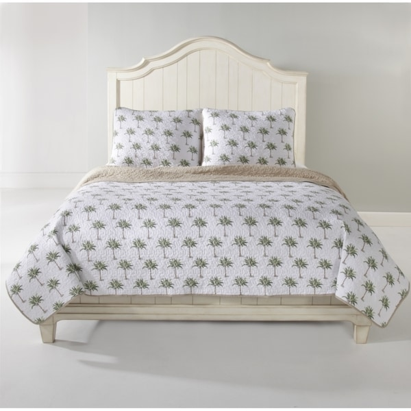 Panama Jack Reversible Palm Tree Cotton 3 Piece Quilt Set