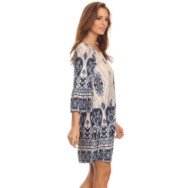MOA Collection Women's Border Ivory Polyester/Spandex Paisley Short Dress