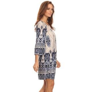 Women's Border Ivory Polyester/Spandex Paisley Short Dress