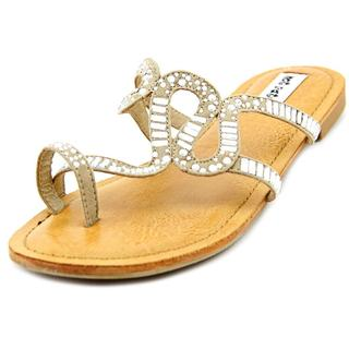 Not Rated Women's 'High Speed' Tan Fabric Low Heel Sandals