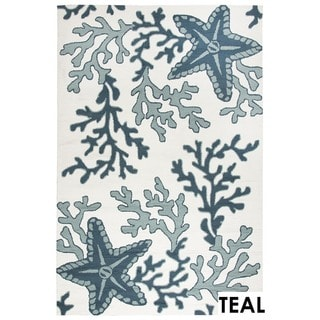 Rizzy Home Tan Azzura HIll Indoor/Outdoor Coral Accent Rug (2' x 3')