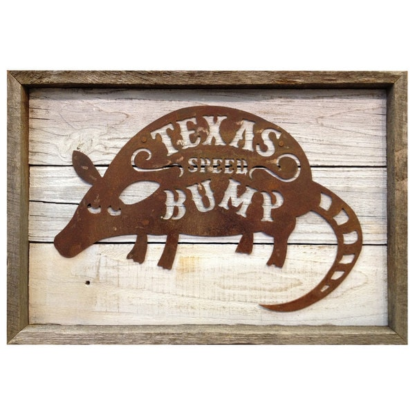 Rustic Shabby Chic Frame with Metal Armadillo 'Texas Spped Bump' Wall Decor