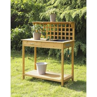 Convenience Concepts Lattice Orange Wood Potting Bench