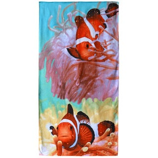 "Two Clownfish Multicolor 30"" x 60"" Cotton Beach Towel"