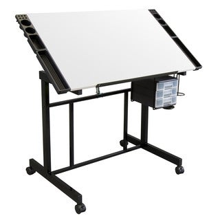 Offex Black and White Metal 41-inch x 24-inch x 30.5-inch Angle Adjustable Deluxe Craft Station