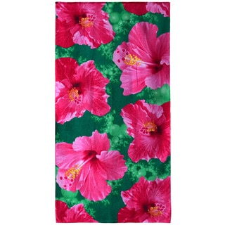 "Hibiscus Green Beach Towel - 30""x60"""